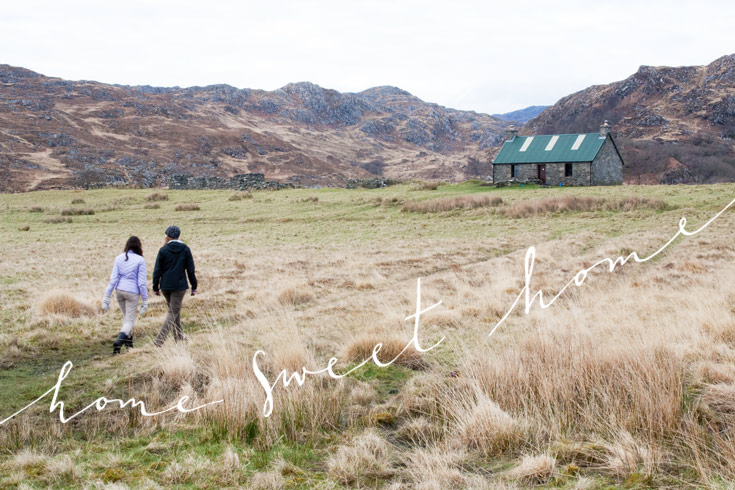 Walking to Peanmeanach Bothy. Home sweet home