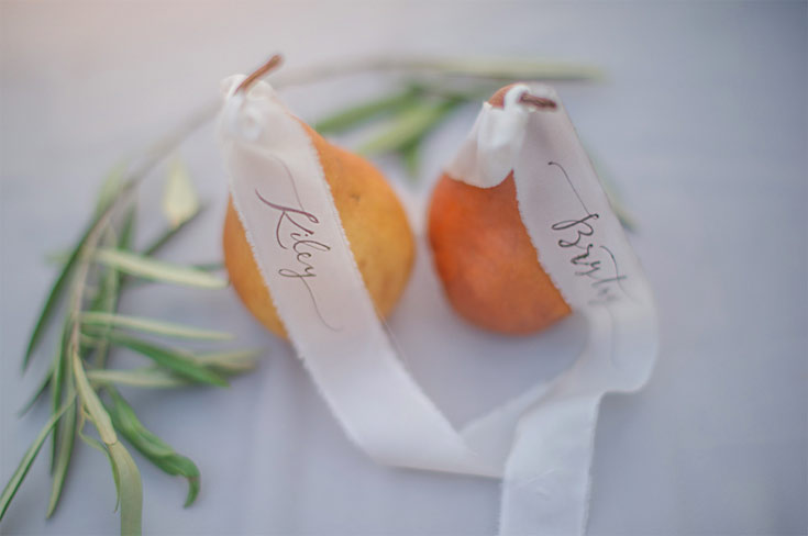 pear place cards Ezer Calligraphy & Design