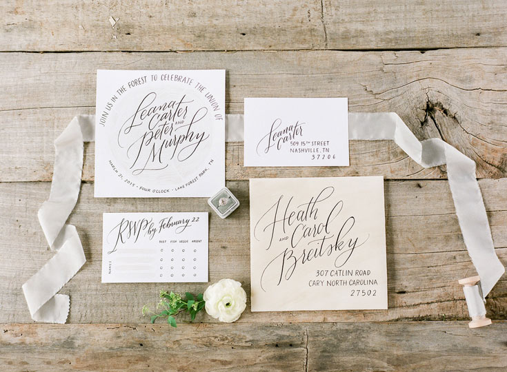 Calligraphy invitation by Taryn Eklund Ink | A Vintage Affair Events | Connie Whitlock Photography