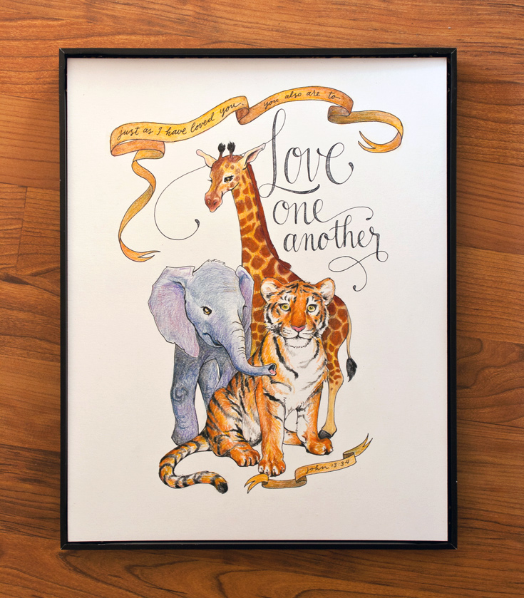 Love one another jungle animal illustration | ezer calligraphy & design