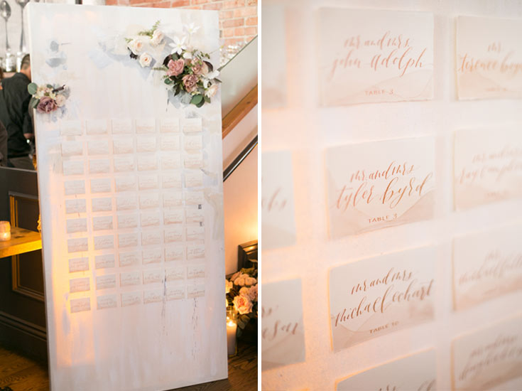 Watercolor and calligraphy seating chart by Taryn Eklund Ink | Siloh Floral Artistry | A Vintage Affair Events | Connie Whitlock Photography
