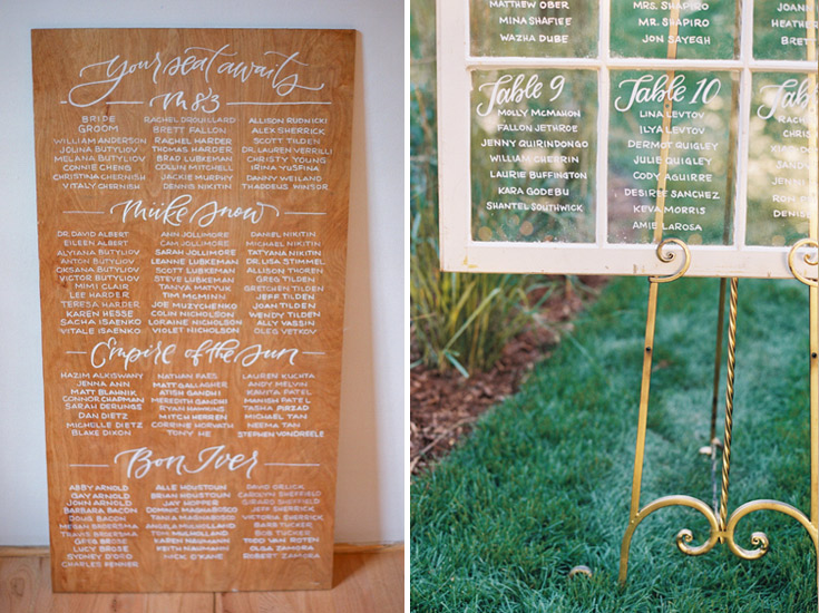 Hand lettered seating chart scrolls by Taryn Eklund Ink | A Vintage Affair Events | Connie Whitlock Photography