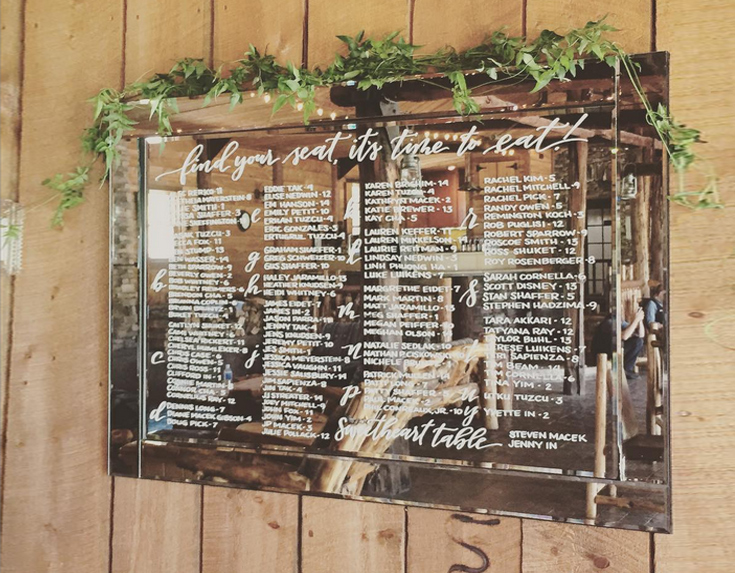 Hand lettered seating chart mirror by Taryn Eklund Ink | Sarah Viera Events