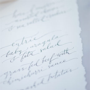 calligraphed menu | Taryn Eklund Ink | photo by Shannon Von Eschen Photography