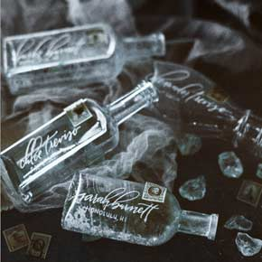 calligraphed bottle placecards | Taryn Eklund Ink | Carrie King Photographer
