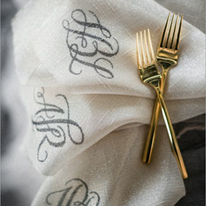 custom monogrammed napkins | Taryn Eklund Ink | Carrie King Photographer