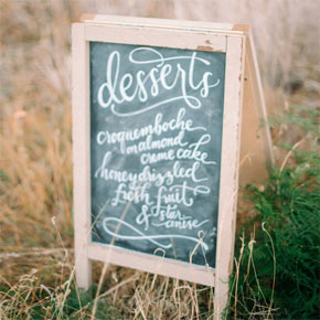 chalkboard dessert menu | Taryn Eklund Ink | Carrie King Photography