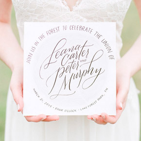 handlettered calligraphy wedding invitation | Taryn Eklund Ink | Photo by Connie Whitlock Photography