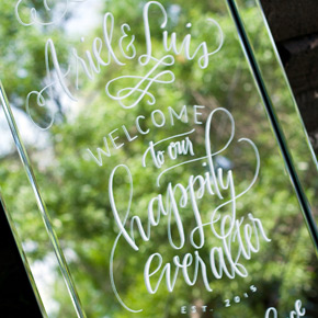 Welcome to our Happily Ever After | hand lettered wedding welcome sign | Taryn Eklund Ink