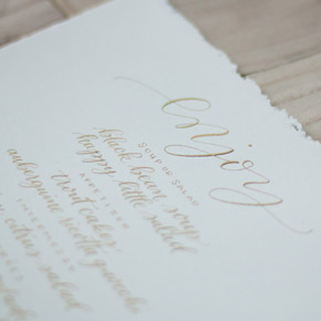 gold calligraphy menu | Taryn Eklund Ink
