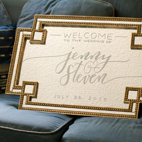 custom calligraphy wedding welcome sign on a mirror | Taryn Eklund Ink