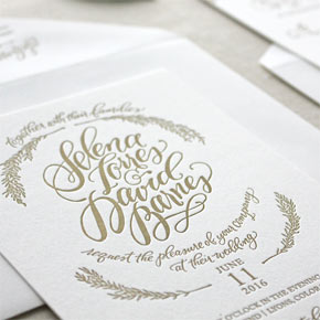 Hand lettered wedding invitation suite | Taryn Eklund Ink | Chatham & Caron Letterpress