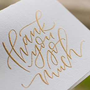 hand lettered thank you card | Taryn Eklund Ink