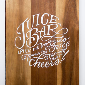 hand lettered juice bar instructions | Taryn Eklund Ink | Carrie King Photography