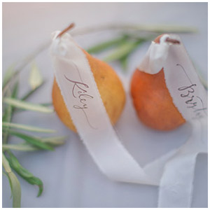 Pear place cards with ribbon calligraphy | Taryn Eklund Ink | Shannon Von Eschen Photography