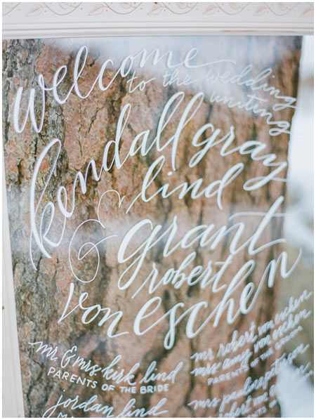 Handlettered wedding welcome sign on glass | Taryn Eklund Ink | Shannon Von Eschen Photography
