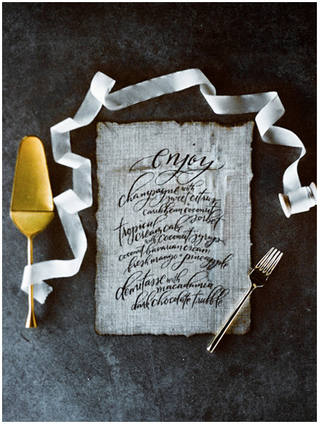 Calligraphed menu on fabric | Taryn Eklund Ink | Carrie King Photography