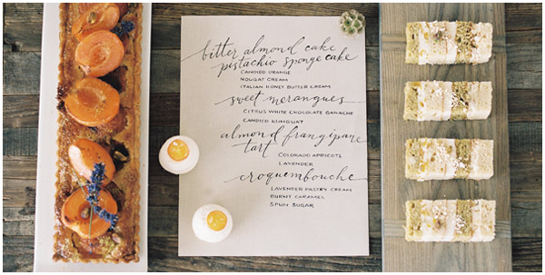 Calligraphed dessert menu by Taryn Eklund Ink | Rachel Havel Photography | Megan Joy Cakes